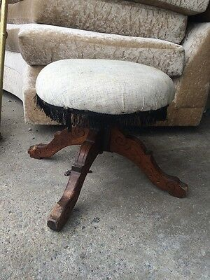 Victorian Piano Stool Round Swivel Carved Legs fringe top
