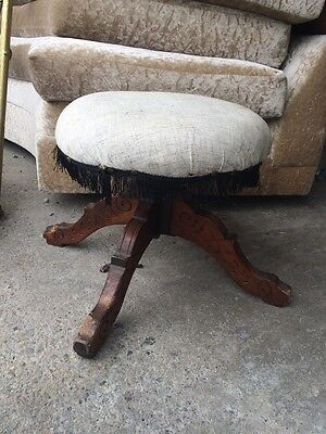 Victorian Piano Stool Round Swivel Craved Legs