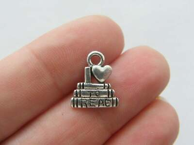BULK 20 I love to read book charms antique silver tone PT81