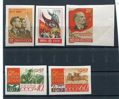 Russia Yr 1957,sc 1998A-2002A,mi 1995B-99B,mnh,imperforated,october Revolution