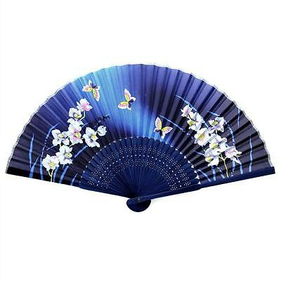 """SILK HAND FAN 8"""" Blue Fabric Folding Pocket Purse Asian NEW Butterfly and Orchid"""