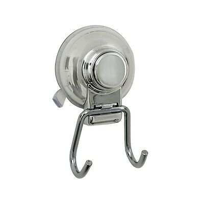 Shower Bathroom Chrome TWIN HOOK Super Strong Suction Cup Wall Mount