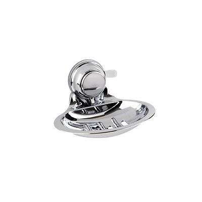 Shower Bathroom Chrome SOAP DISH Super Strong Suction Cup Wall Mount - 3kg Hold