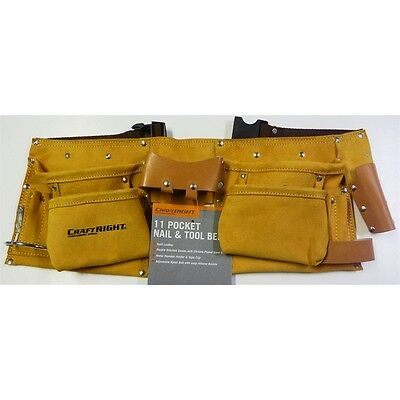 Pro Trade Quality 11 Pocket Genuine Leather Tool & Nail Belt Pouch Double Stitch