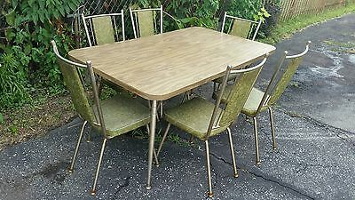 Vintage Mid Century Modern Wood Grain Laminate Dining Room Table w/ 6 Chairs