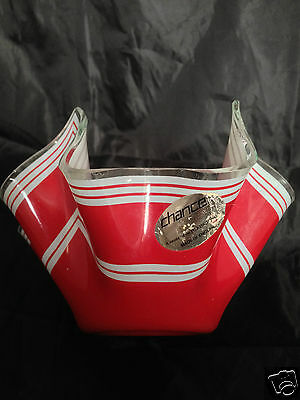 """1960s Vintage CHANCE glass handkerchief vase - 6"""" red and white with label"""