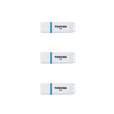 Toshiba Boxer 8GB 3 Indiv Pack USB 2.0 Flash Memory Data Storage AU Stk & War