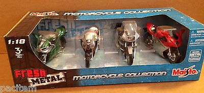 Set 4 Motorcycle Motorcycle Collection Fresh Metal Die-Cast 1:18 Scale Maisto