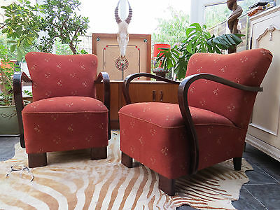 A Pair Of East German Art Deco Lounge Armchairs C1930/40 Good Condition