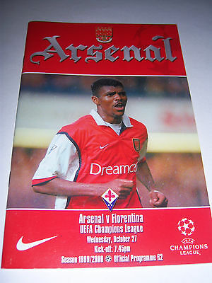 ARSENAL v FIORENTINA 1999/2000 - CHAMPIONS LEAGUE - FOOTBALL PROGRAMME