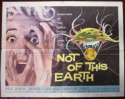 Not Of This Earth-Original 1957 Half Sheet Poster-Autographed By Beverly Garland