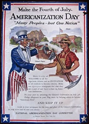 Cut 70$$ Americanization Day 1917 Wwi Poster- Uncle Sam Give Citizen Papers Art