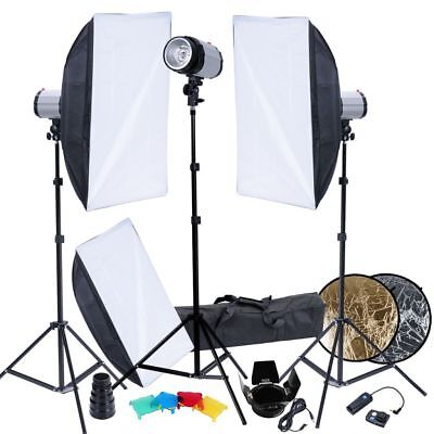 Studio Pro Photo Light Kit 3 x 120 W Flash Strobe Lighting Softbox Trigger Set