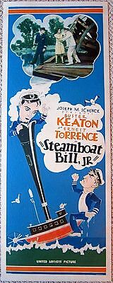 Steamboat Bill Jr. '26 Paperbacked Insert Poster Buster Keaton Silent Classic!