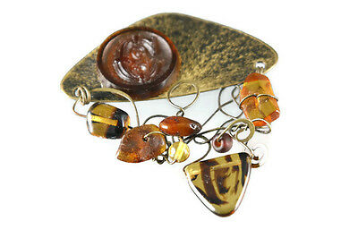Hand Made Artisan Brooch Amber and Glass Metal Wire Initial C Modern Abstract