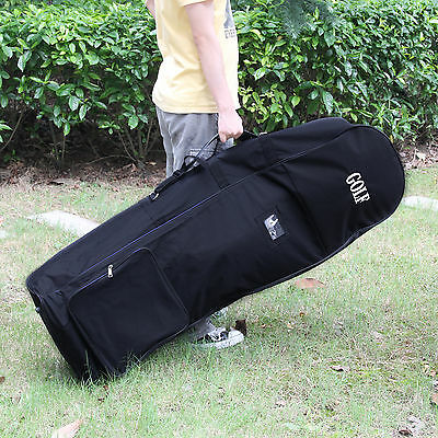 Black Padded Golf holiday travel cover / bag case with wheels lightweight UK