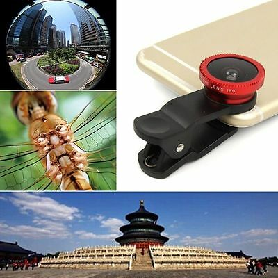 Red Fisheye Wide Angle Macro Camera Clip-on Lens kits For Cell Phone Tablet CA