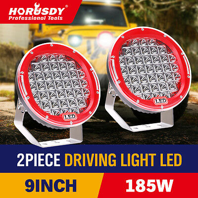 2x 9 inch 185w Driving Light LED Spot Flood Offroad 4WD Black Pair CREE ARB Lamp