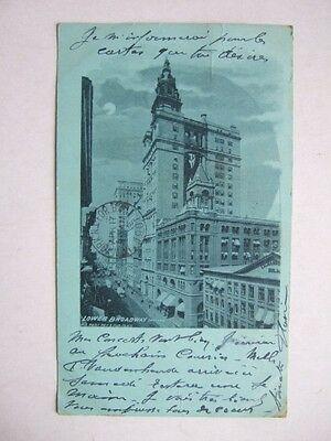 CPA NEW YORK (USA) LOWER BROADWAY. MOONLIGHT. POSTCARD BLUE stamped 1901