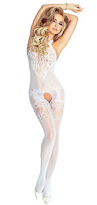 Braut Bodystocking PR4672 Netz-Catsuit ouvert Damen-Body in weiß von Provocative