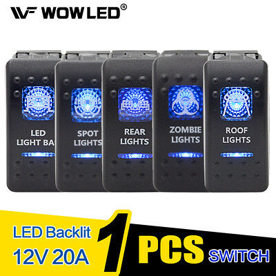 Waterproof Driving Work Light LED Illuminated Backlit Rocker Switch Truck Car
