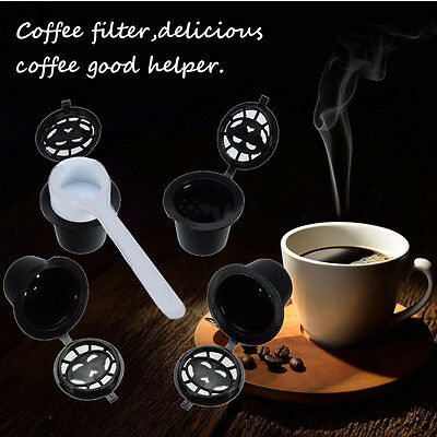 4pcs Refillable Compatible Coffee Espresso Capsules Pods Filter Cups Tool