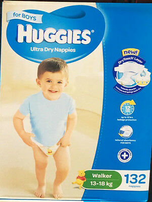Huggies Ultra Dry boy Nappies Walker 132 Disposable Size 13-18kg JUMBO PACK