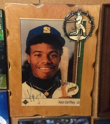 Ken Griffey Jr Autographed ROOKIE Plaque Photo Hall Of Fame Seattle Mariners