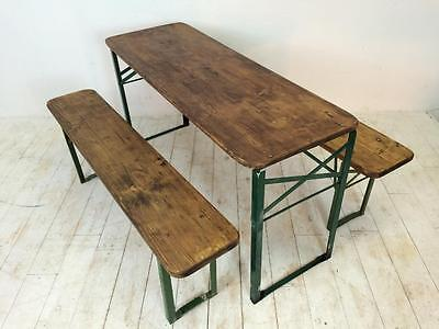 Vintage Industrial German Beer Table Bench Set Garden Customised Length