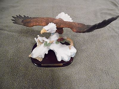 Eagle Figurine On Wood Stand From The Wellington Collection, Very Pretty But Dam