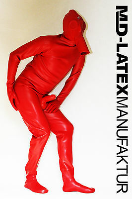 "MD-Latex - ""Red Alien"" 0,9mm Latexanzug Latex Rubber Latexoverall Ganzanzug"