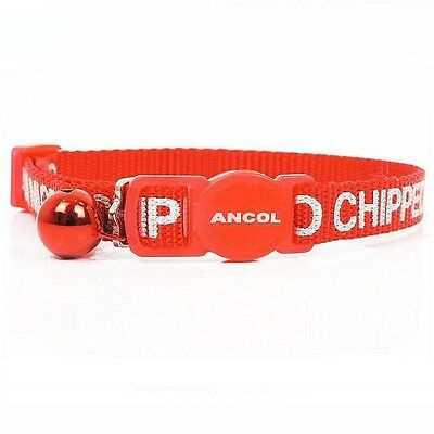 "Ancol Cat Collar ""I Am Microchipped"" with Safety Buckle Warning Bell - Red Alert"
