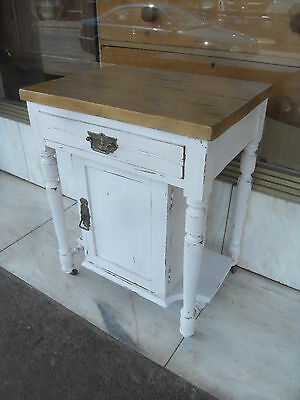 Small Edwardian Painted Cupboard With A Pine Top Sat on Castors