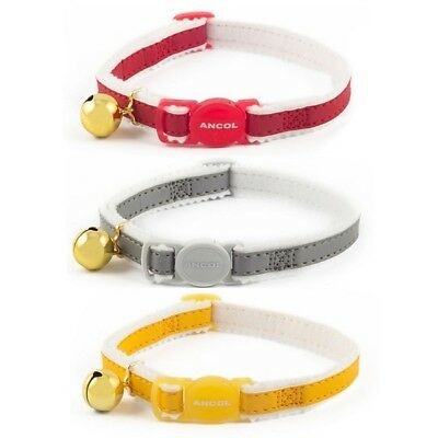 Ancol Acticat Reflective Safety Buckle Cat Collar with Bell Red, Yellow, Silver