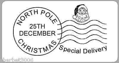 24 x Christmas Stickers North Pole Stamp Santa Labels White
