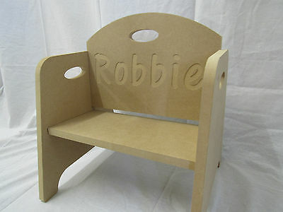 Toddler Chair Personalised With Any Name. 335mm high 18mm thick