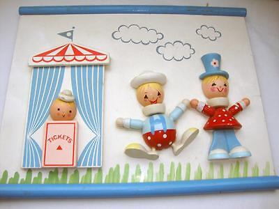 Vintage 1960's Children's Wood Nursery Picture, Circus Theme, Hand Painted