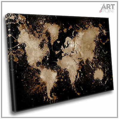 World Map Canvas Print Abstract Paint Splash Framed Wall Art Picture