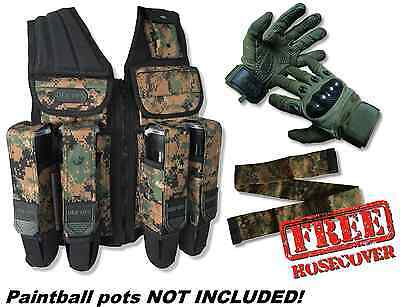 Paintball Vest (3 COLORS) + Gloves + FREE Hose Cover - Tactical Pot/Tank Harness