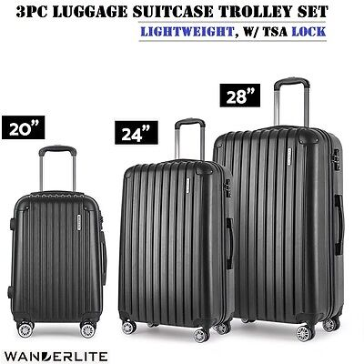 3pc Set Hard Shell Travel Luggage Suitcase Trolley TSA Lock Carry Bag - Black