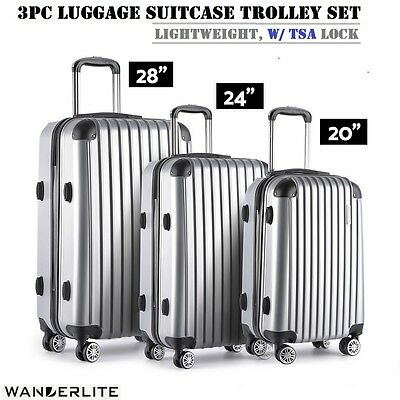 3pc Set Hard Shell Travel Lu39ggage Suitcase Trolley TSA Lock Carry Bag - Silver