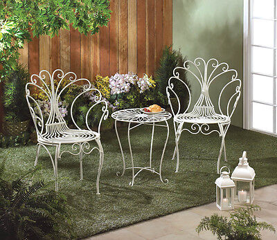 White Iron Peacock Bistro Set 2 Chairs  Table Garden Patio Deck Yard Seat Dine