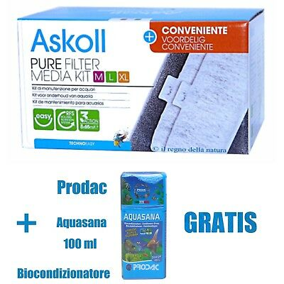 Askoll Pure Filter Media Kit Ricambio Filtri Pure M L Xl Completo Conveniente