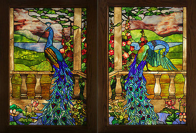 Colorful Beautiful Early 20th Century Pair of Peacock Stained Glass Windows
