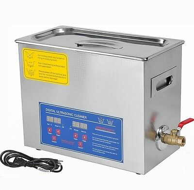 Heated Ultrasonic Cleaner Stainless Steel 6 L Liter Industry Heater With Timer