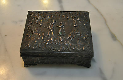 Vintage Ornate Footed Silver Metal Trinket Cigarette Box w Hinged Lid Japan