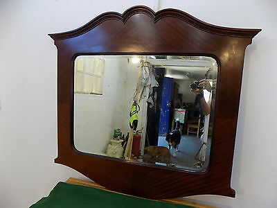 antique,edwardian,large,overmantle,mirror,bevelled,mahogany,wall mirror,curved