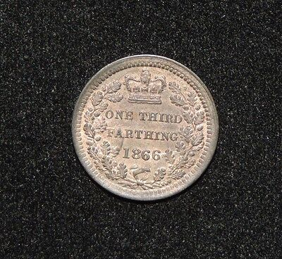 1866 Great Britain Victoria 1/3 One Third Farthing Coin BU Uncirculated England