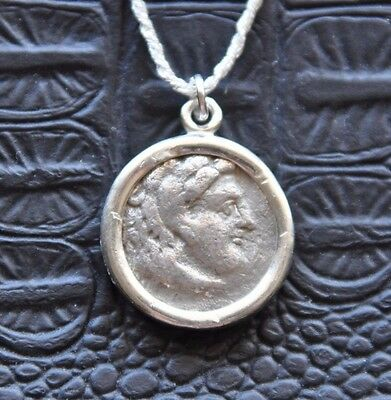 Alexander III the Great Authentic AR Silver Drachm Coin Sterling Silver Necklace
