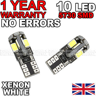 501 W5W T10 White Canbus No Error Free 10 SMD LED Sidelight Bulbs for VW Golf